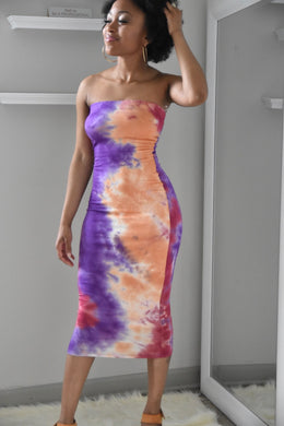 Tie Dye Tube Dress - Miss Tino Boutique