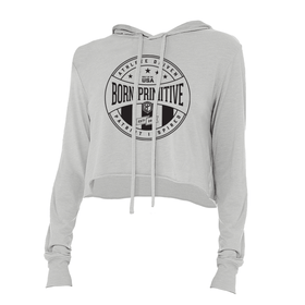 Athlete Driven Cropped T-Shirt Hoodie (Heather Grey)