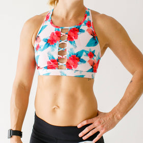 The Knotted Up Sports Bra (Aloha- Pink)