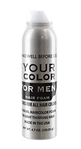Hair Foam Gradual Haircolor Foam for Men for Gray Thinning Hair for All Hair Types by Love Your Color, 4.7 Oz