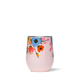 Lively Floral Blush Stemless Wine Glass
