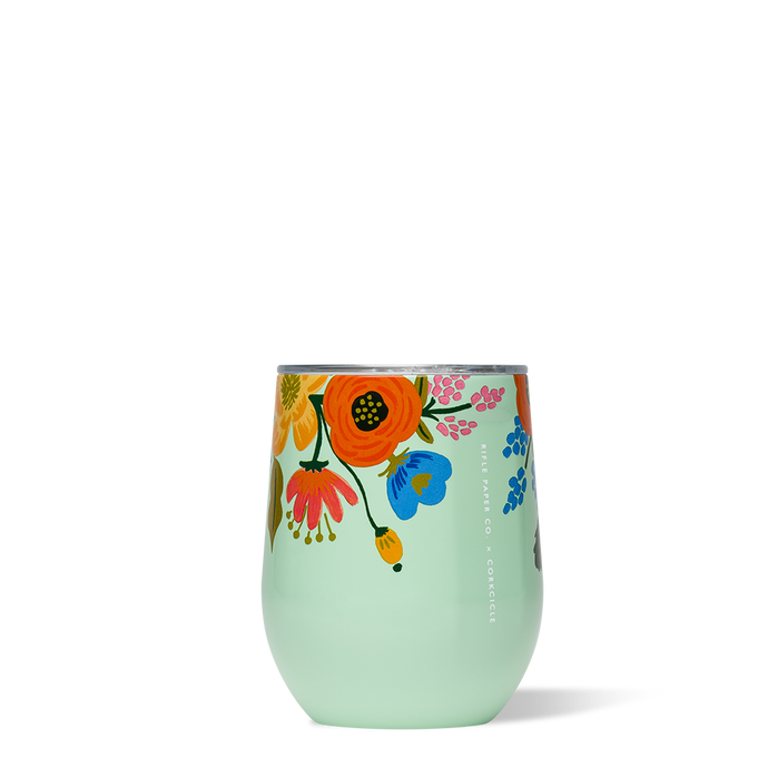 Lively Floral Mint Stemless Wine Glass