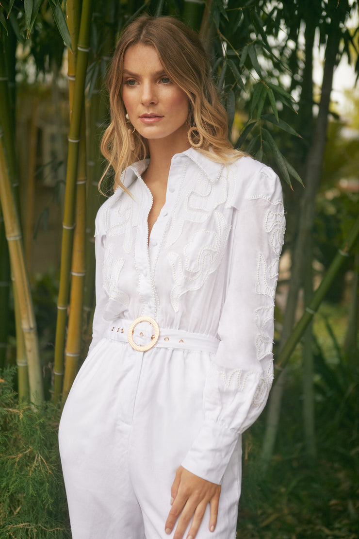 Zillia Applique Linen Jumpsuit