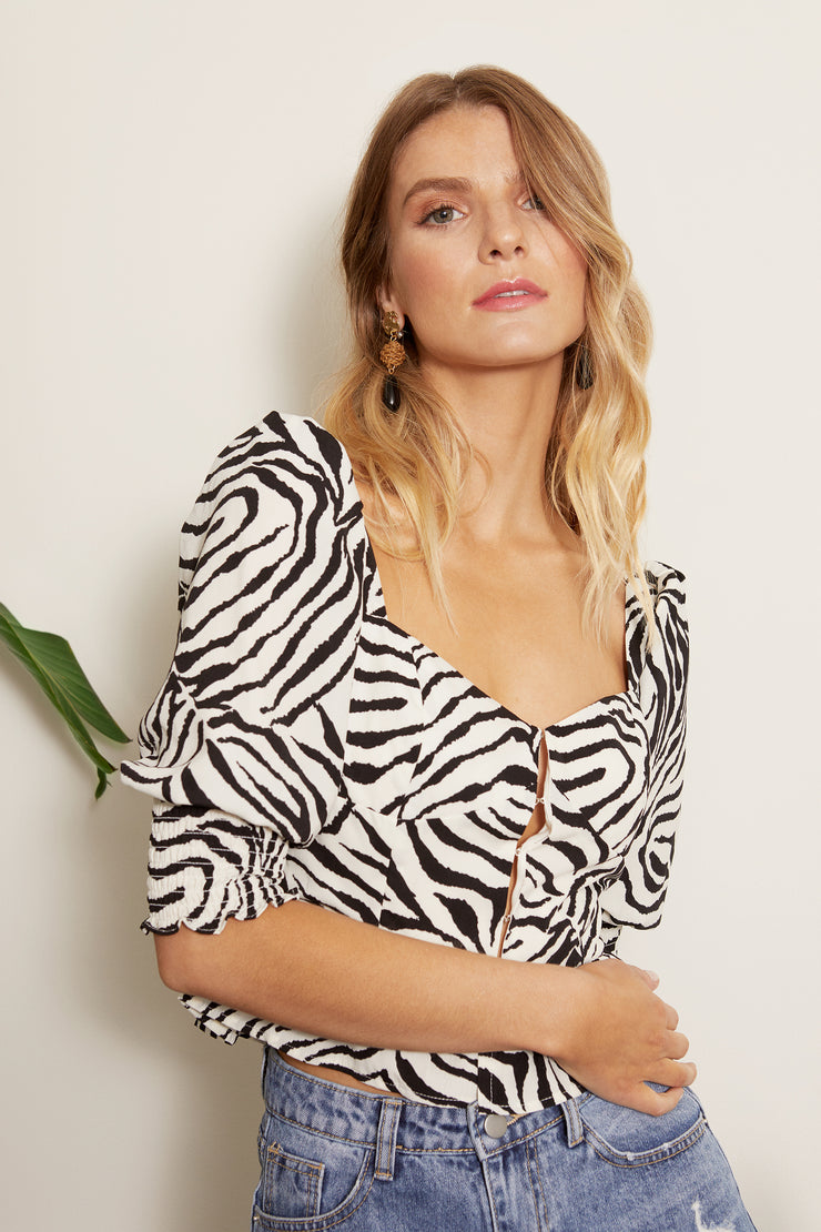 Zebra Hook and Eye Puff Sleeve Top