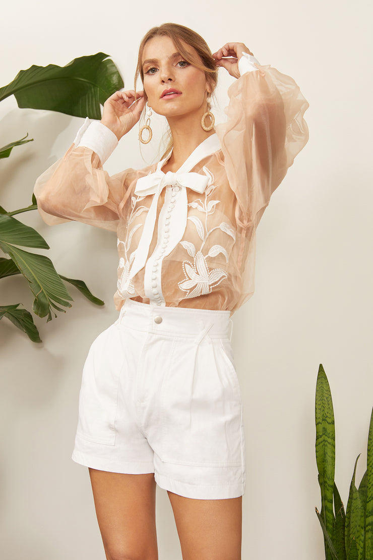 Lorena Sheer Applique Blouse