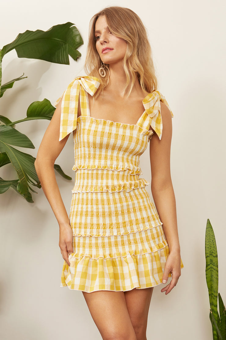 Sable Gingham Smock Tie Dress