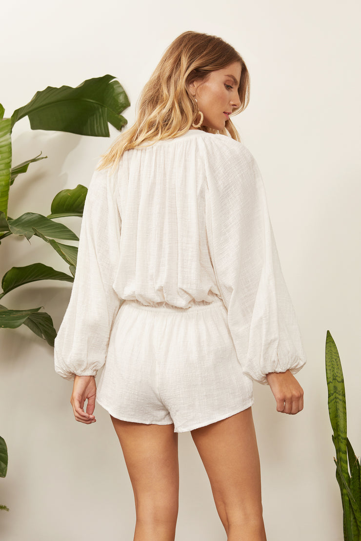 Leona Linen Button Romper
