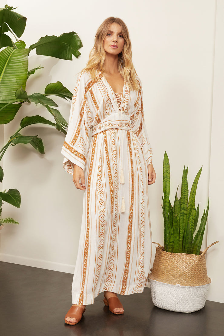 Liberty Bohemian Lace Up Maxi Dress