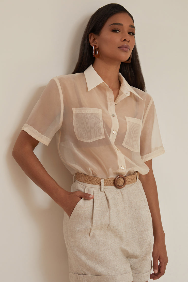 Sheer Button Front Shirt