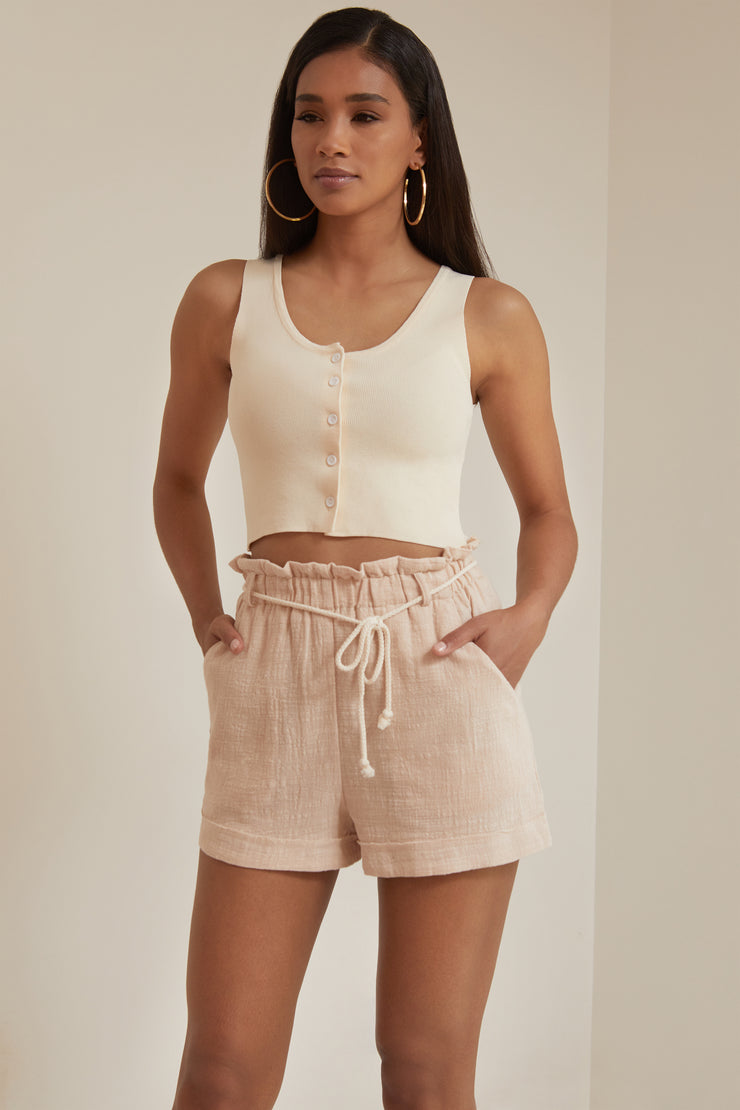 Rhona Roped Paperbag Linen Shorts