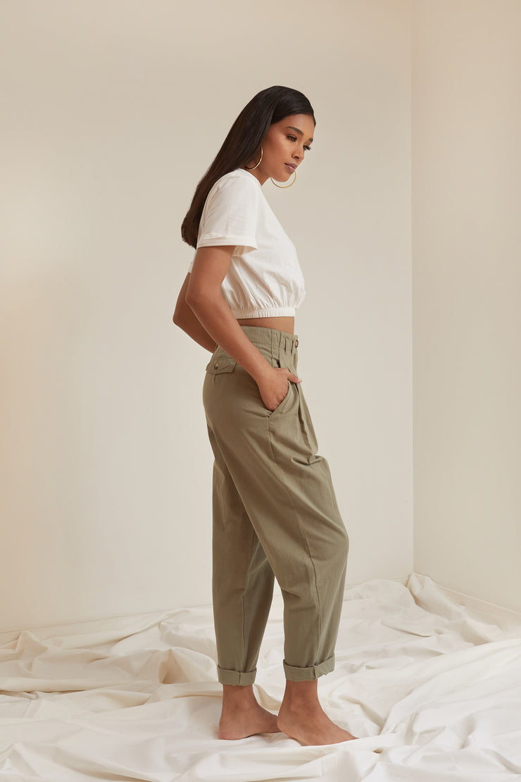 Laurent Pleated Twill Trouser