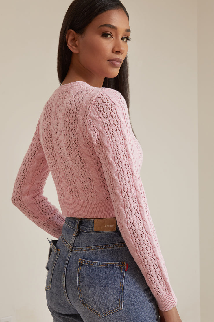 Joanie Open Weave Crop Cardigan