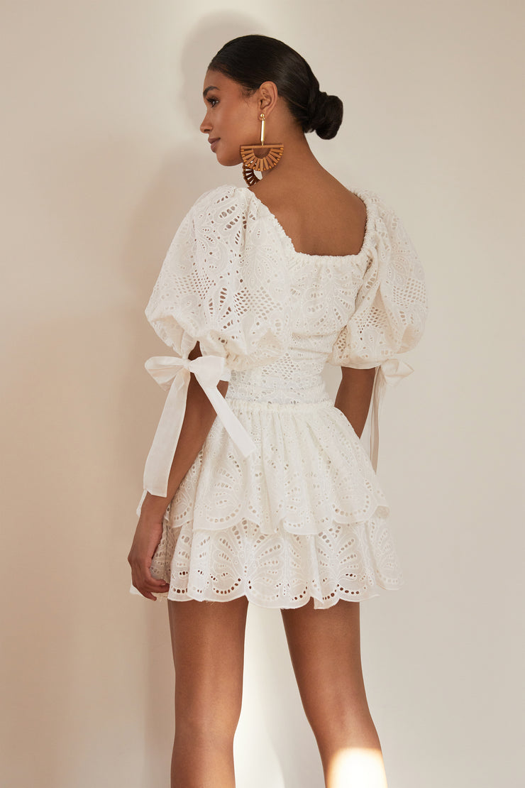 Inga Eyelet Tiered Mini Dress