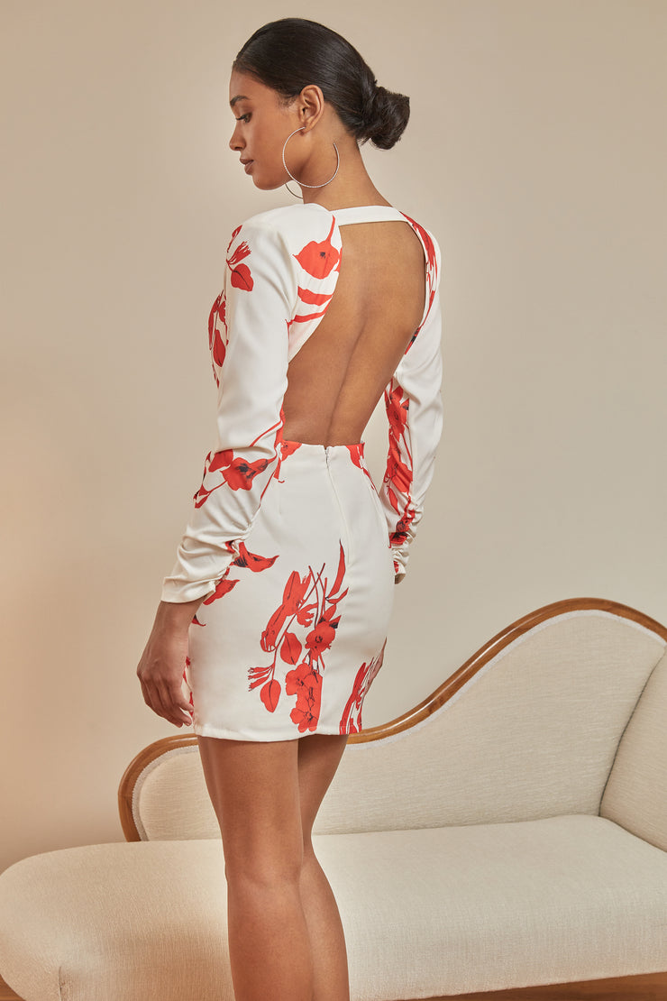 Alicia Floral Ruffle Front Bodycon Dress