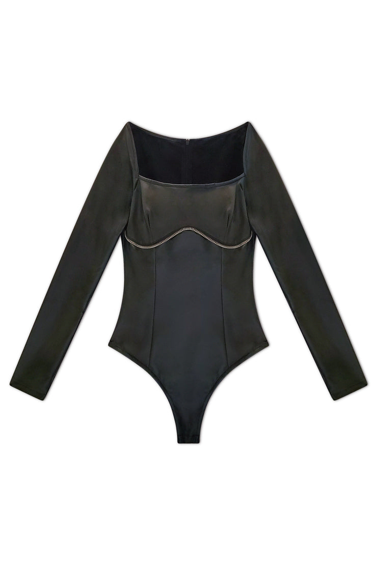 Zalea Zipper Trim Bodysuit