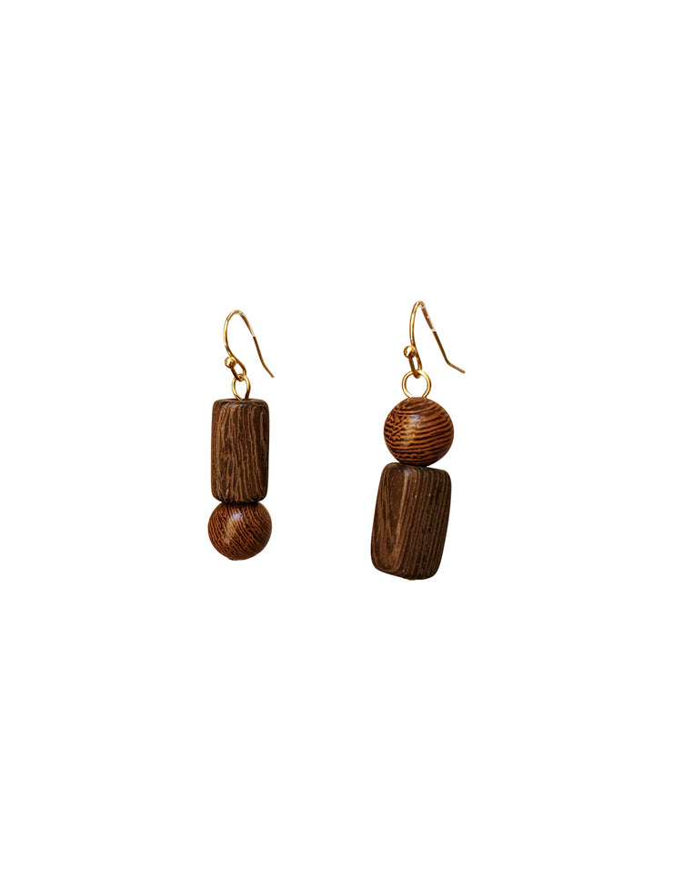 Jenga Wood Drop Earrings