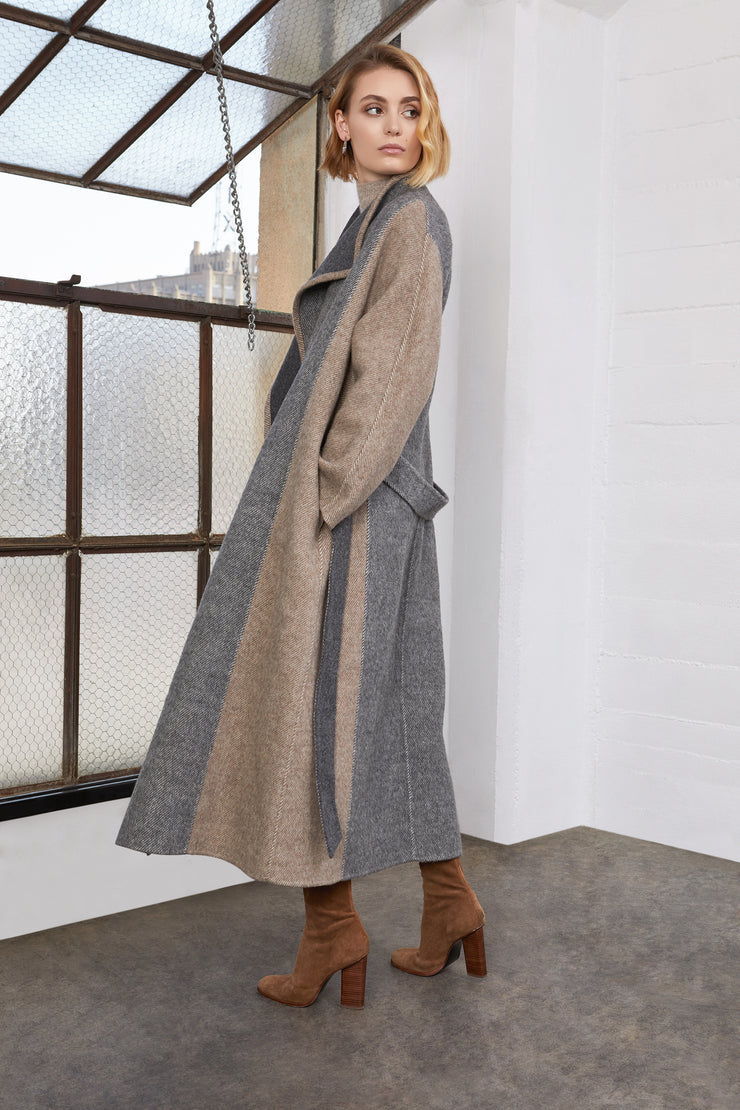 Savannah Colorblock Long Wool Coat