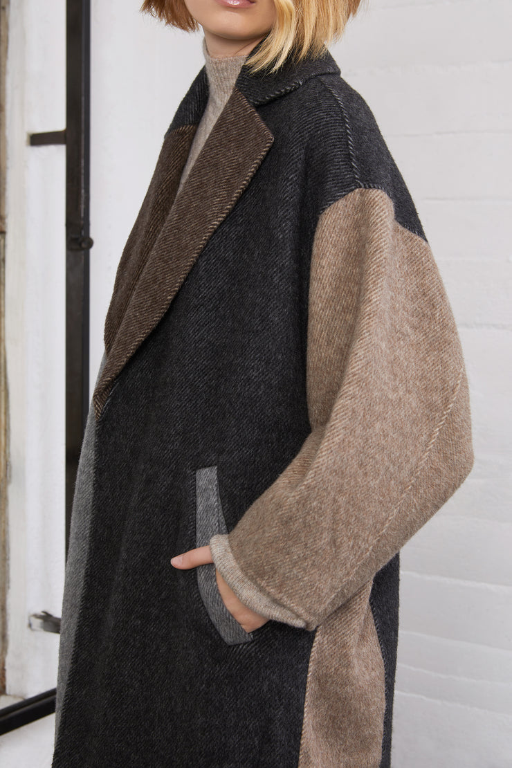 Skylar Colorblock Long Wool Coat