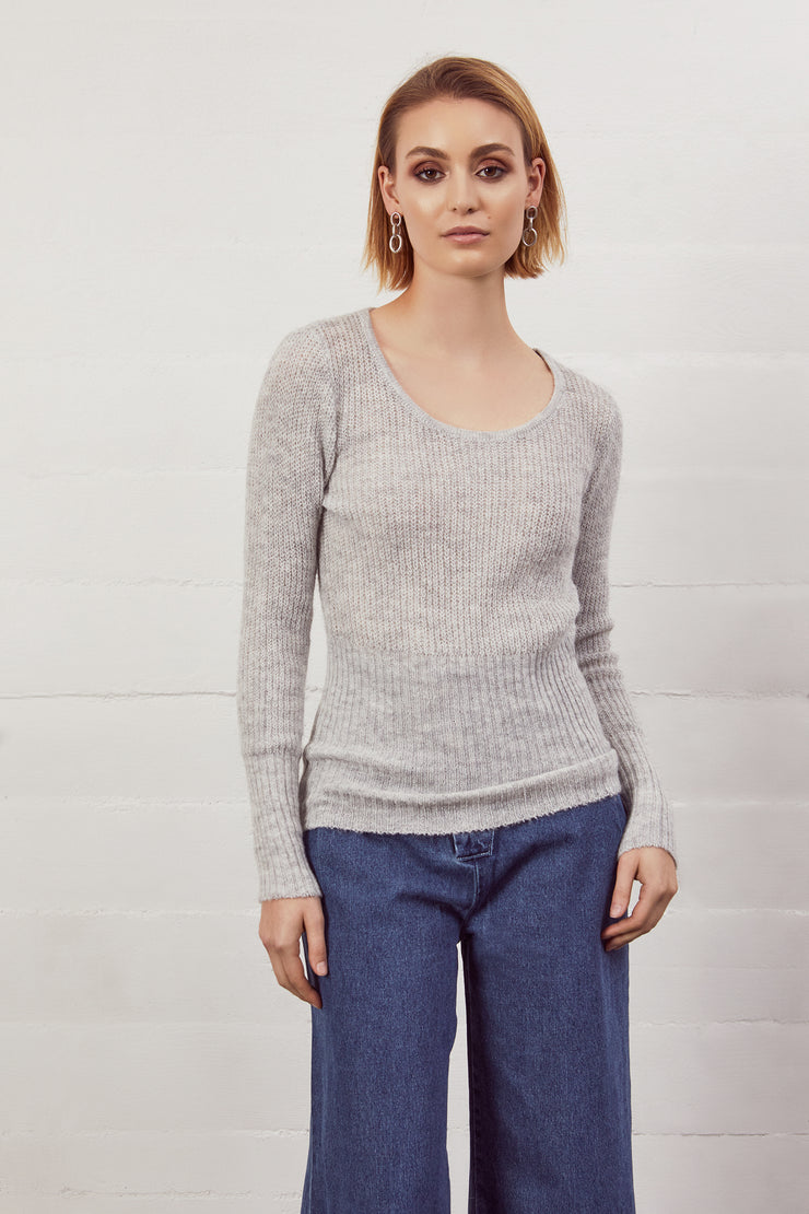 Heathered Scoopneck Sweater