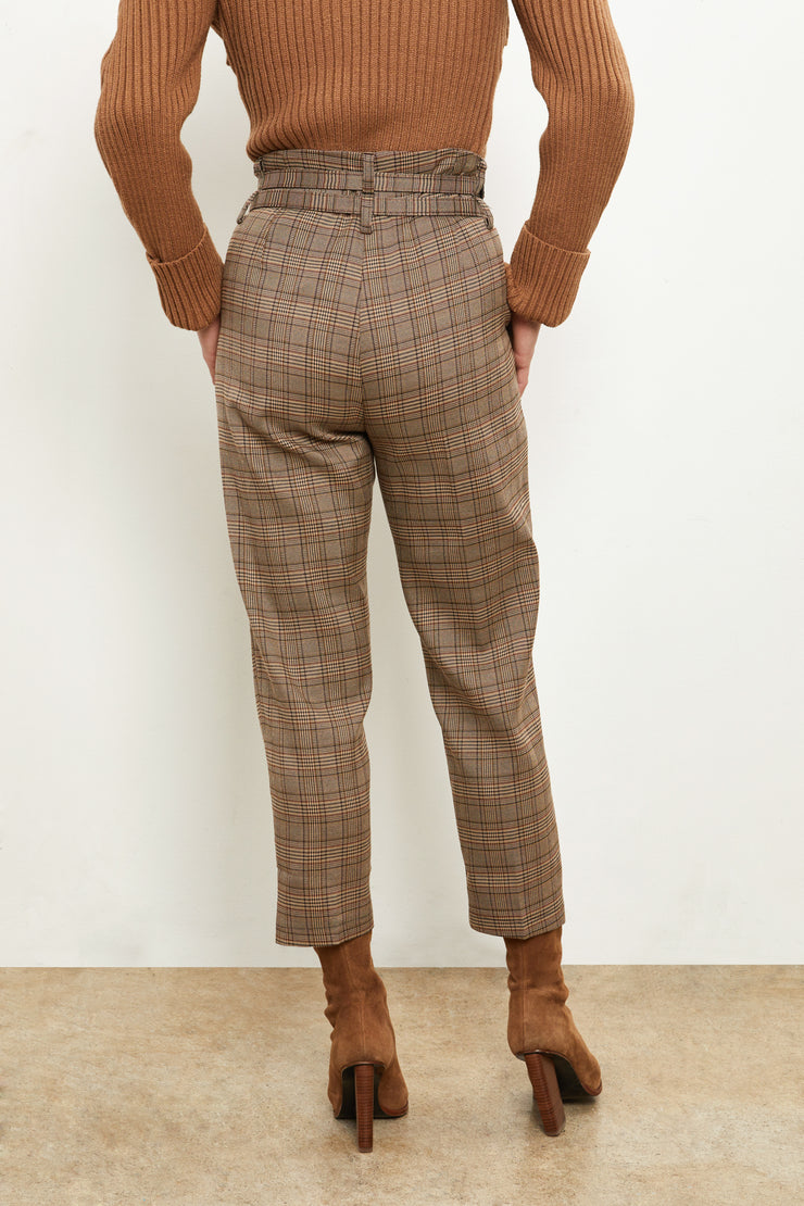 Double Belted Plaid Trouser