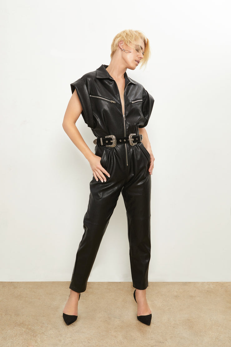 Alexis Vegan Leather Moto Jumpsuit
