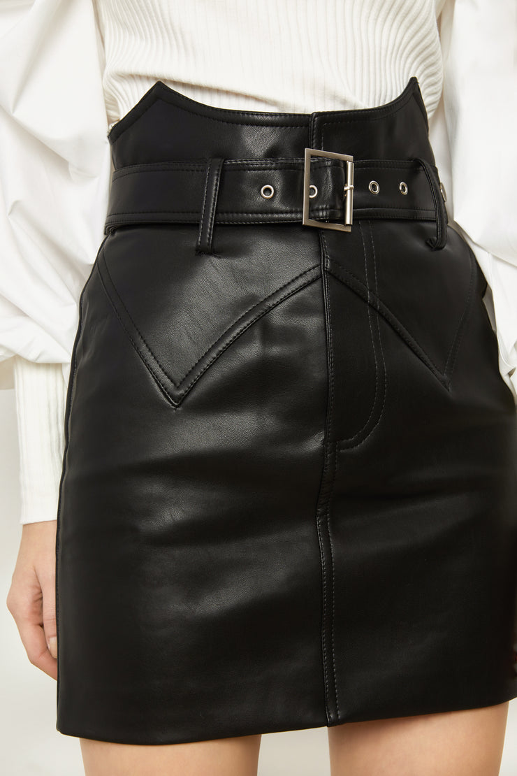 Dia High Waist Vegan Leather Mini Skirt