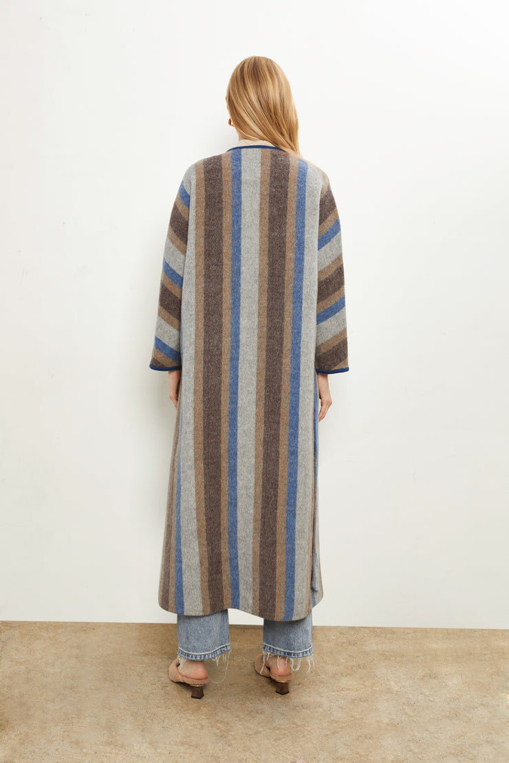 Everleigh Stripe Wool Coat