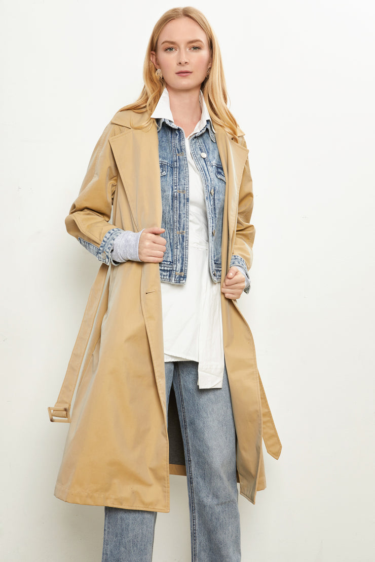 Denim Combo Trench Coat