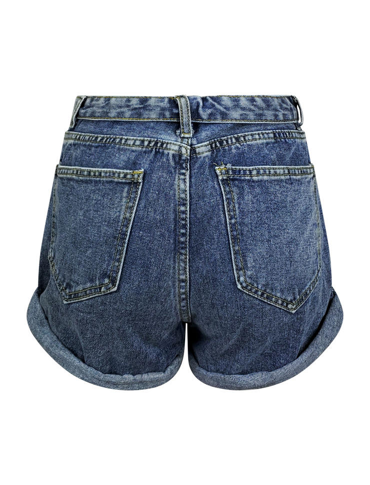 Roll Waist Denim Short
