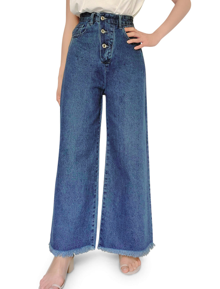 Triple Button Wide Leg Jean