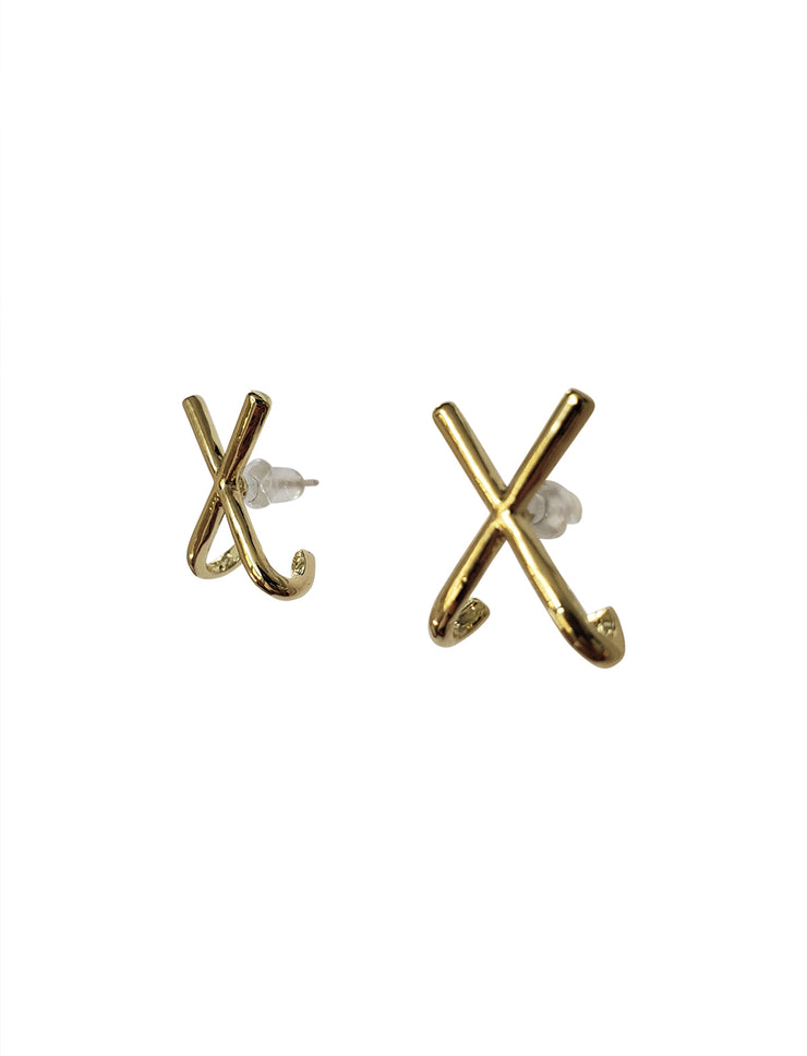 X Gold Stud Earrings