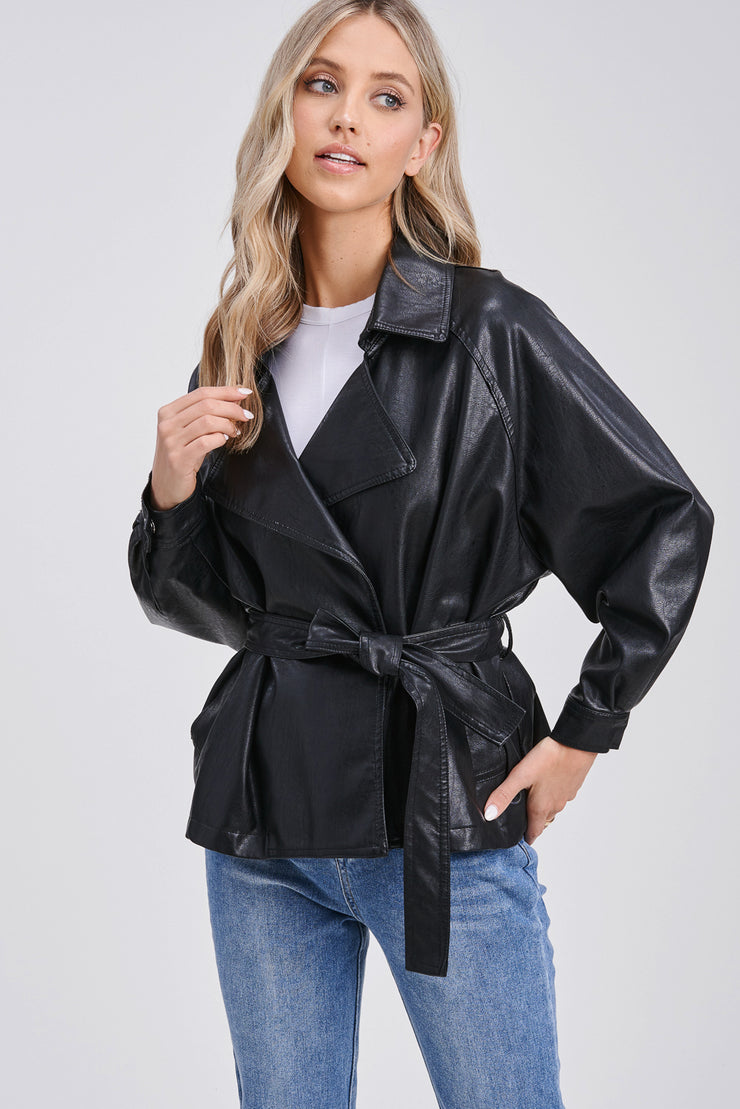 Domina Short Trench Leather Jacket