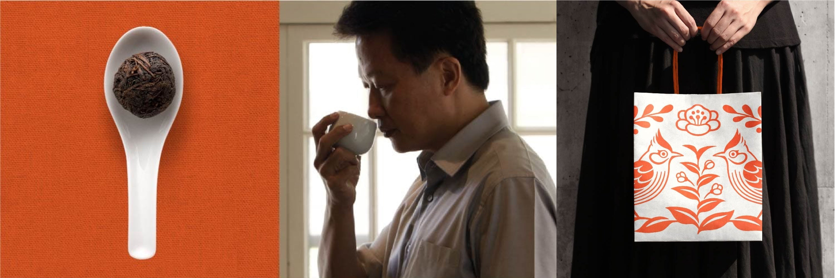 Banner image of tea in a spoon, man sniffing teacup, women holding a shopping bag.