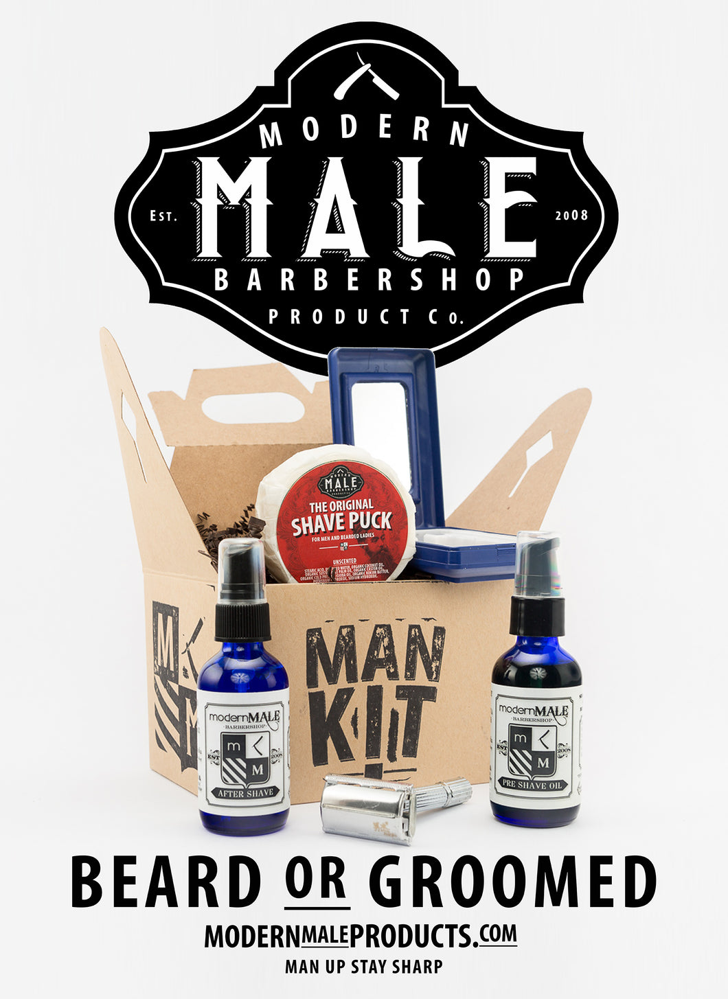 Shave Kit 1: Aftershave Oil, Preshave Oil, Shave Puck, Razor