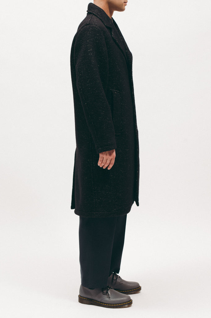 NAP WOOL OVERCOAT - BLACK