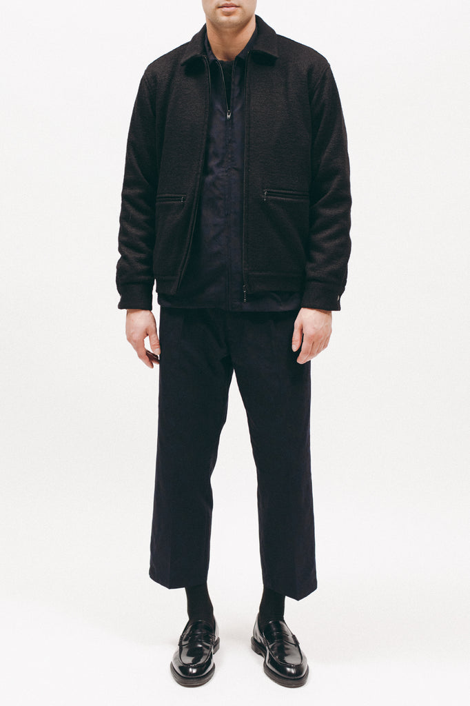 BOILED WOOL HARRINGTON - BLACK