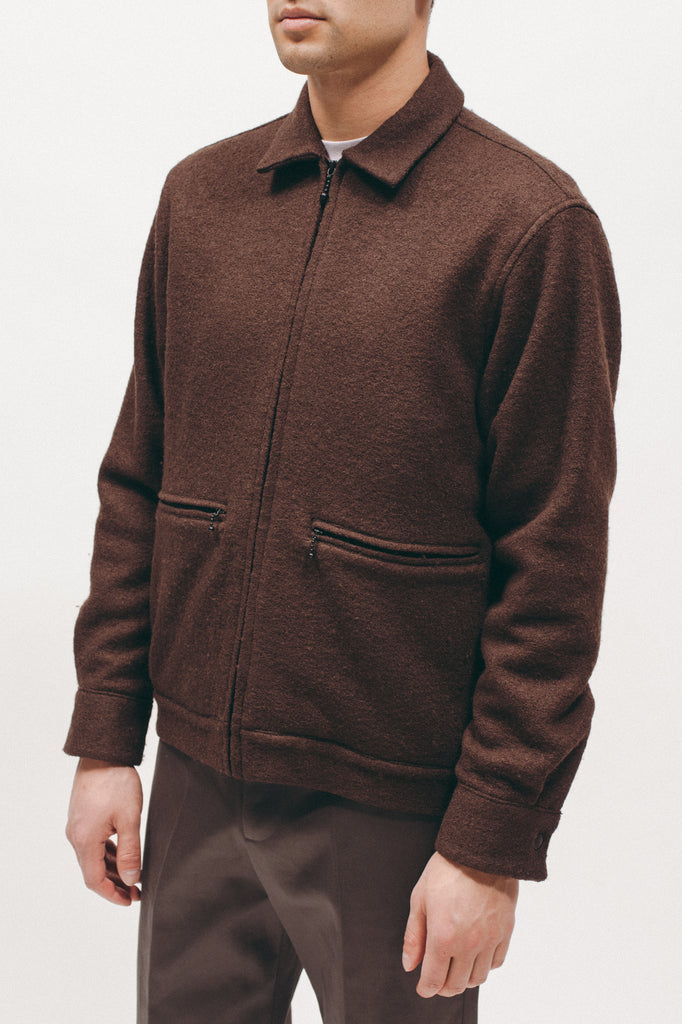 BOILED WOOL HARRINGTON - BROWN