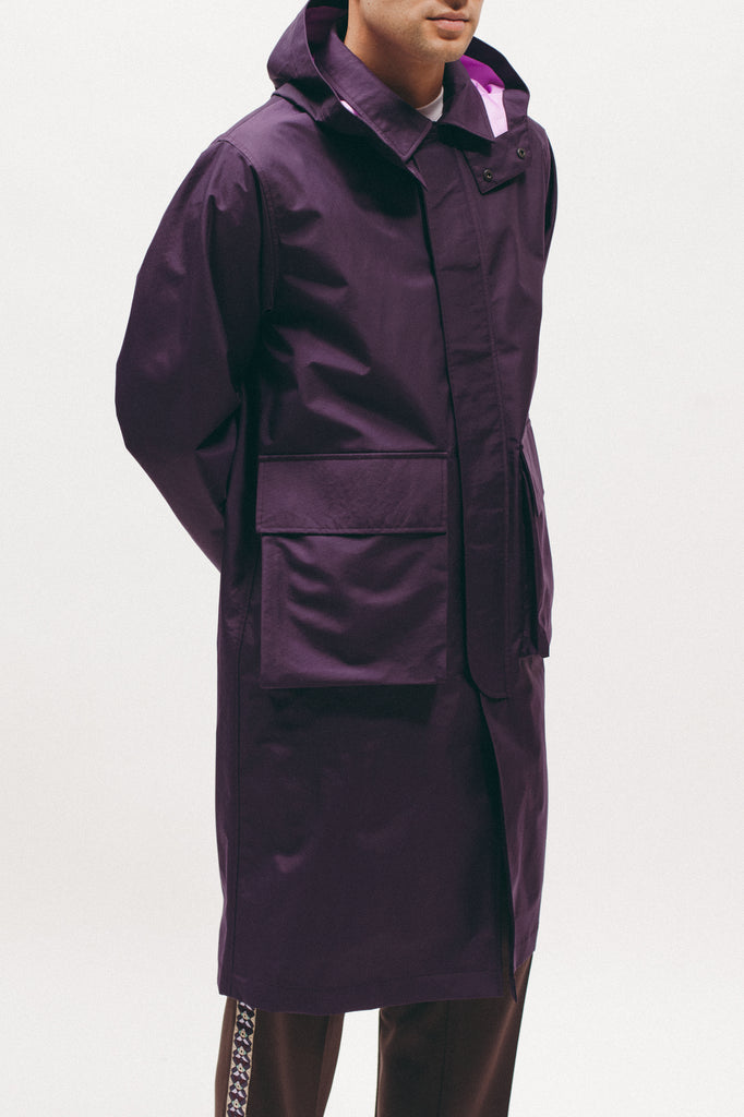HOODED MAC COAT - EGGPLANT