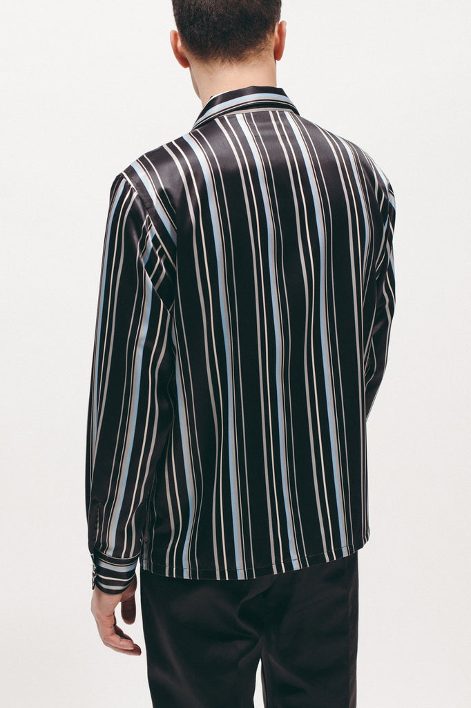 STRIPE RAYON SHIRT - BLACK