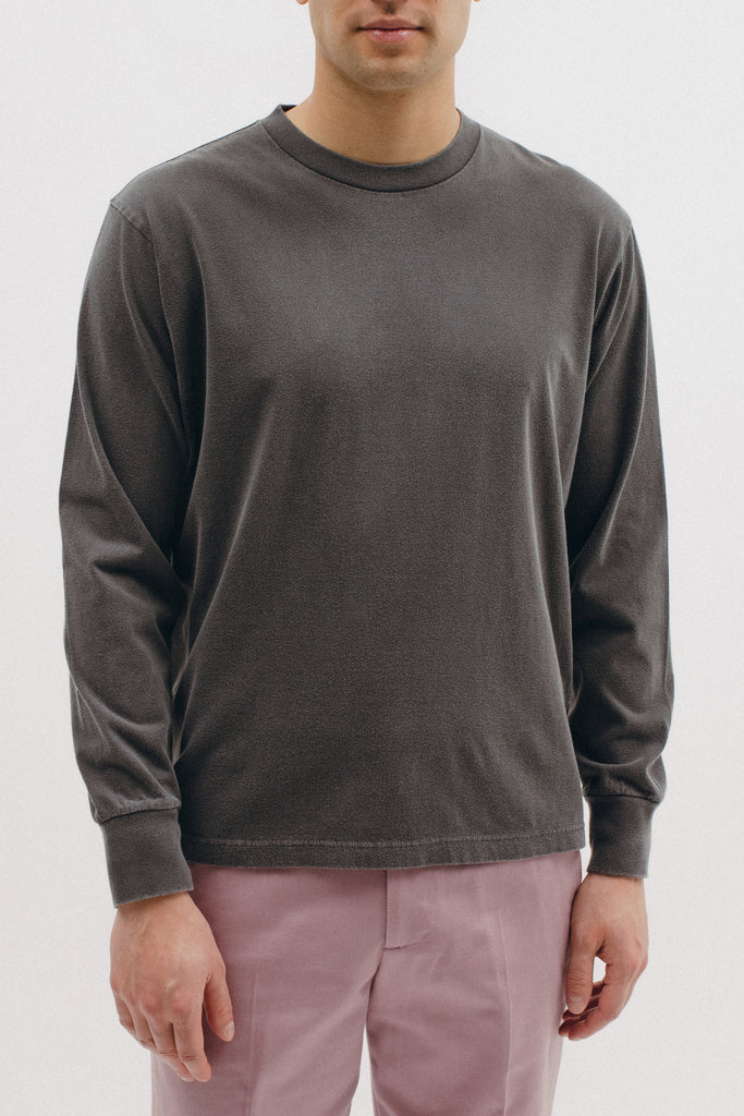NATURAL DYED BLOCK LS JERSEY - CHARCOAL