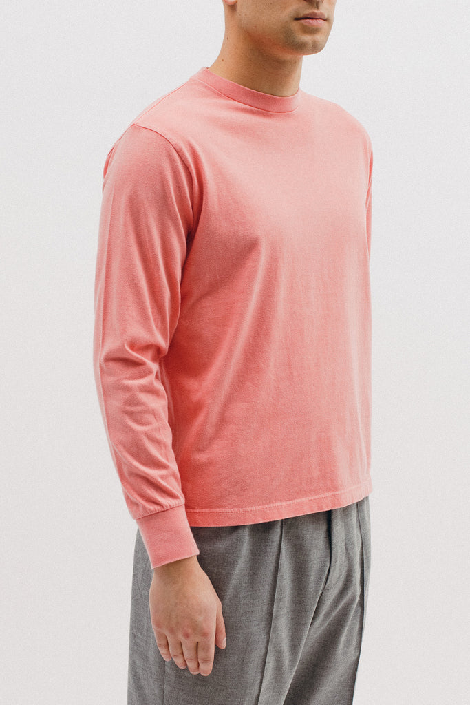 NATURAL DYED BLOCK LS JERSEY - CORAL
