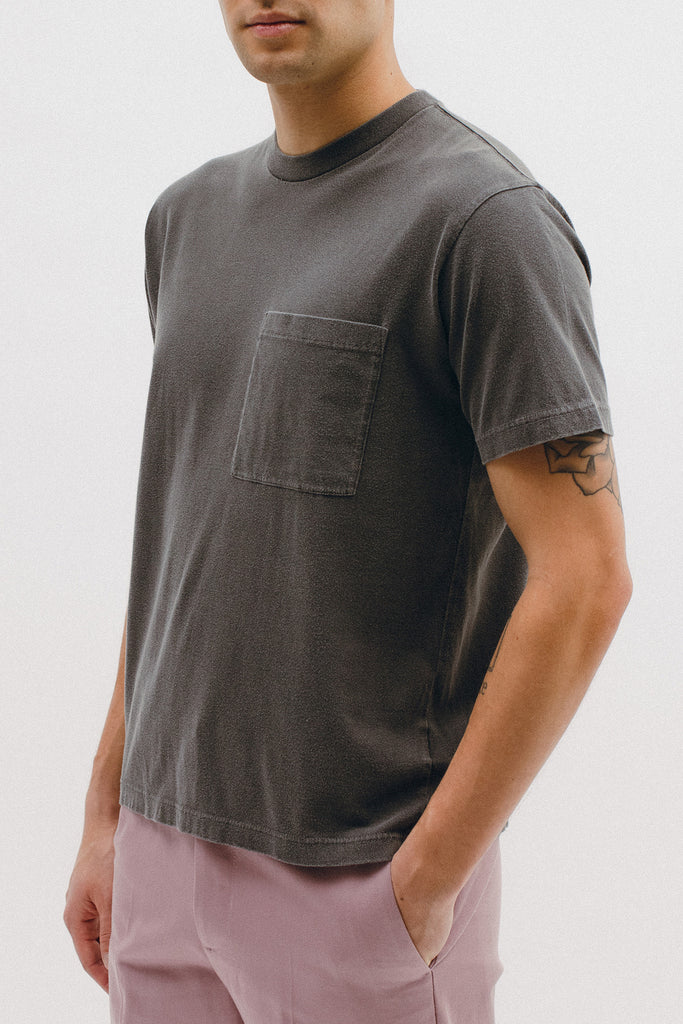 NATURAL DYED BLOCK SS JERSEY - CHARCOAL