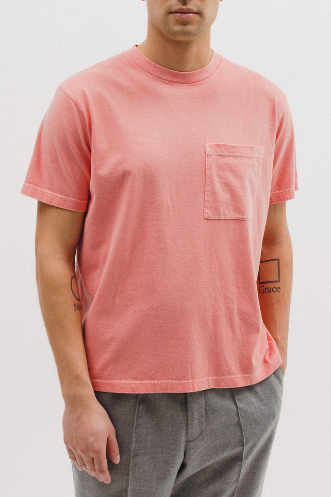NATURAL DYED BLOCK SS JERSEY - CORAL