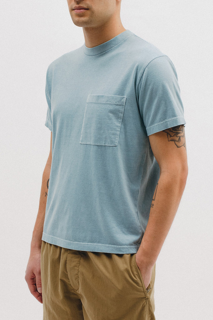 NATURAL DYED BLOCK SS JERSEY - DUSTY TEAL
