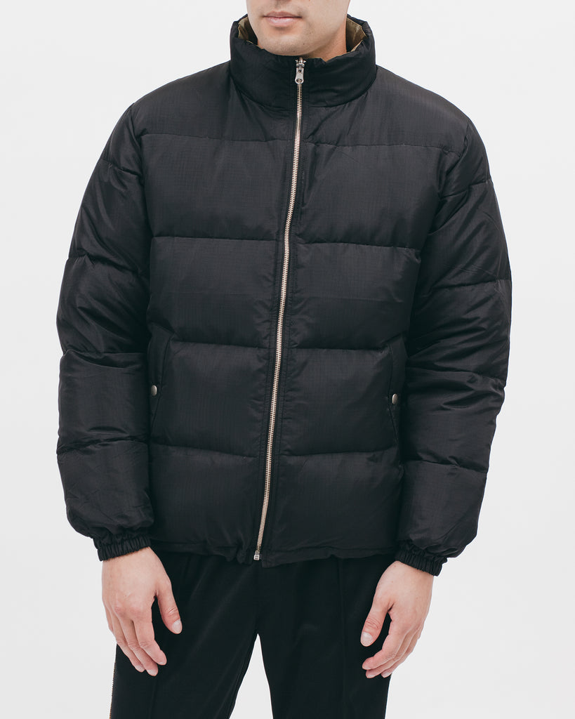 REVERSIBLE PUFFER JACKET - BLACK / MOSS