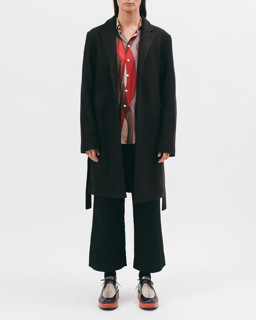 BELTED OVERCOAT - BLACK