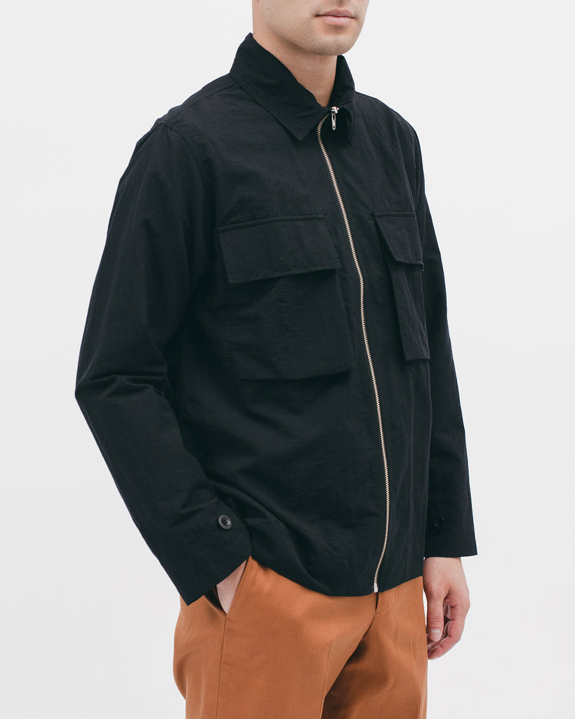 NYLON POPLIN LS SHIRT - BLACK