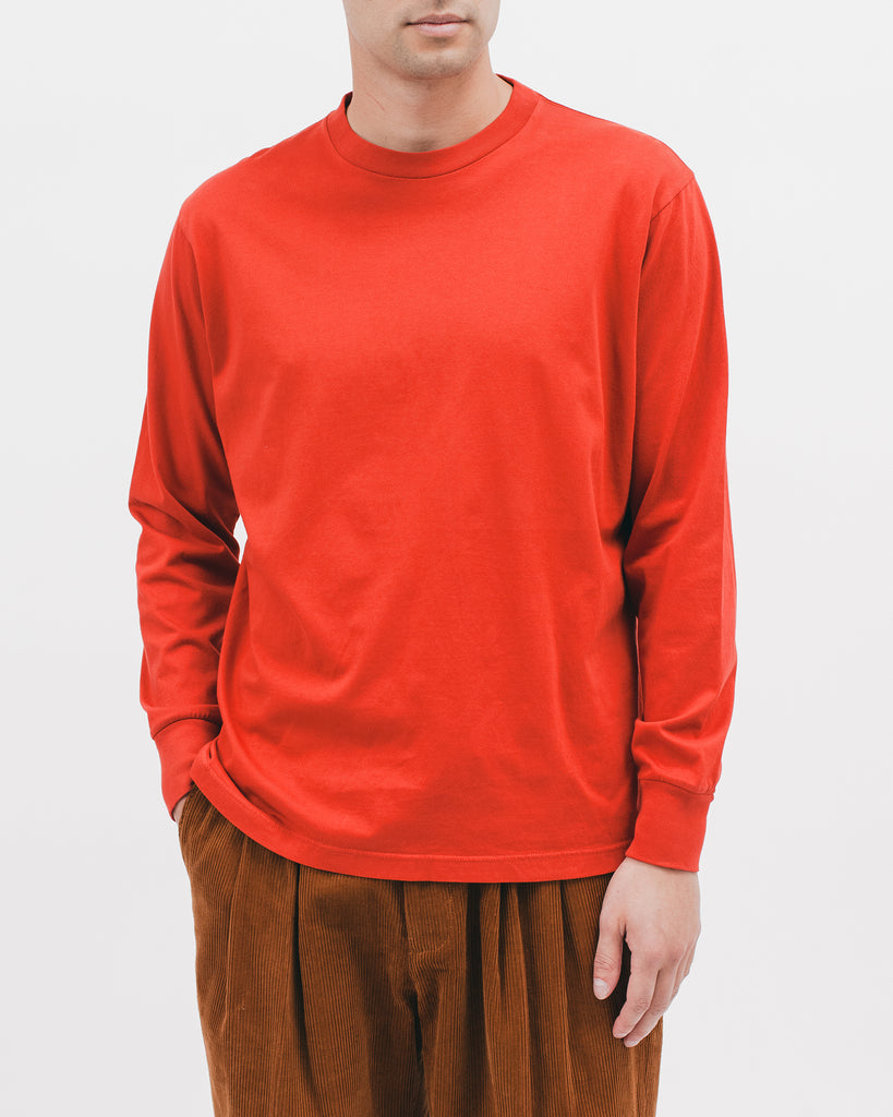 NATURAL DYED BLOCK LS JERSEY - TOMATO
