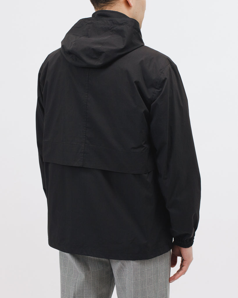 ZIP HOODED JACKET - BLACK