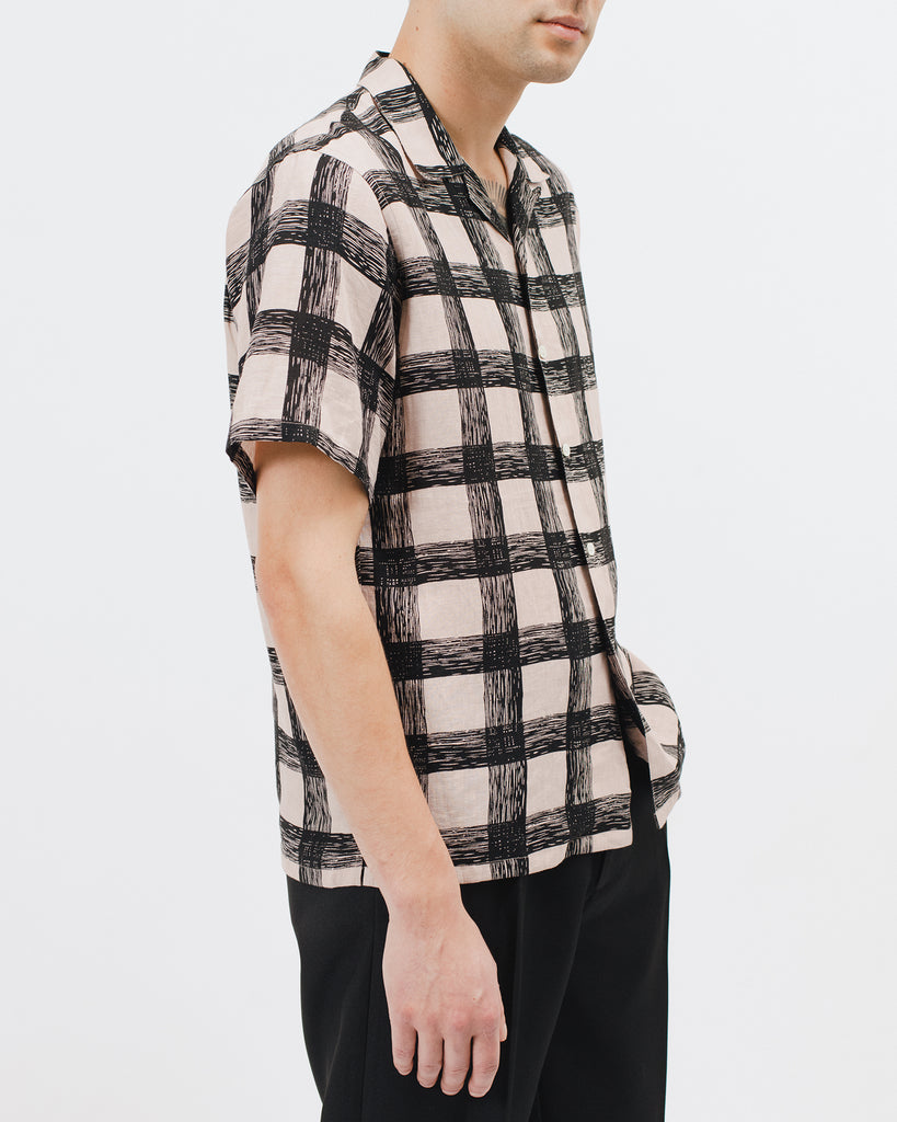 BRUSH LINEN SS SHIRT - VILLA PINK